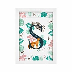 Personalised Leopard Initial A4 Framed Print