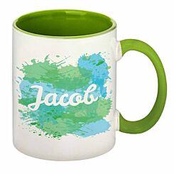 Personalised Splash Sublimation Mug Green
