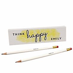 Personalised Think Happy Pencils in a Box