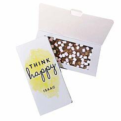 Personalised Think Happy Milk Chocolate Card
