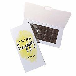 Personalised Think Happy Dark Chocolate Card