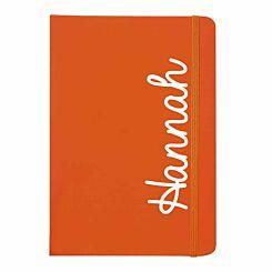 Personalised White Name Orange Notebook