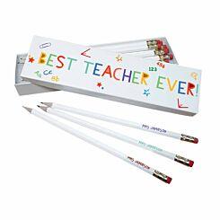 Personalised Best Teacher Ever Pencils in Box