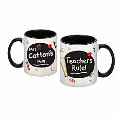 Personalised Teachers Rule Black Mug