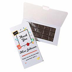 Personalised Thank You Teacher Dark Chocolate Card