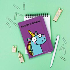 Personalised Blue Unicorn Notebook
