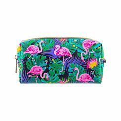Flamingo Floral Black Wedge Pencil Case