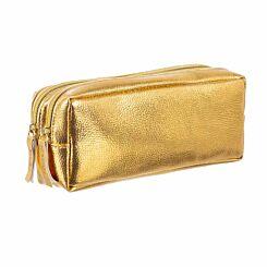 Double Pocket Golden Pencil Case