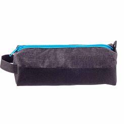 Split Panel Black with Blue Zip Pencil Case