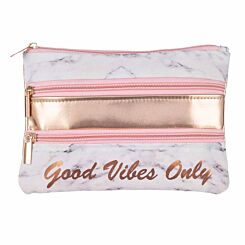 Good Vibes Only Triple Pocket Pencil Case