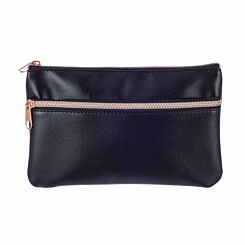 Black Flat Pencil Case with Rose Gold Zip