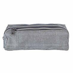 Grey Check Wedge Multi Compartment Pencil Case