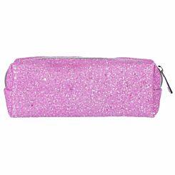 Purple Glitter Wedge Pencil Case