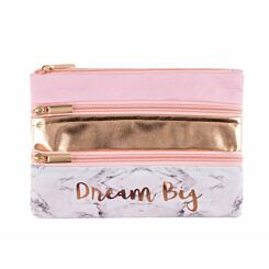 Ryman Pink and Marble with Gold Triple Pocket Flat Pencil Case