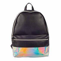 Black Silver Panel PU Backpack