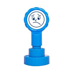 Xclamations Sad Face Stamp Blue