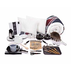 Luxury Student Bedding and Kitchenware Bundle 3/4 College Check