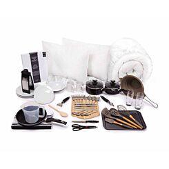 Luxury Student Bedding and Kitchenware Bundle 3/4 Toile Grey