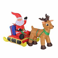 Inflatable Light Up Santa Claus with Sled and Reindeer