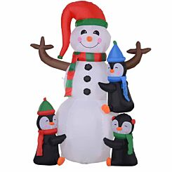 Inflatable Light Up Snowman with Penguins 180cm