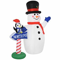 Inflatable Light Up Snowman with North Pole Sign