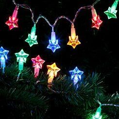 20 LED String Lights Battery Operated Star Multi Coloured
