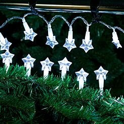 20 LED String Lights Battery Operated Star Ice White
