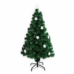 Green Pre Lit Fibre Optic Artificial Christmas Tree with Stars 120cm