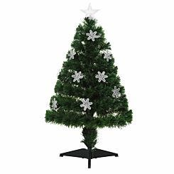 Green Pre Lit Fibre Optic Artificial Christmas Tree with Snowflakes 90cm