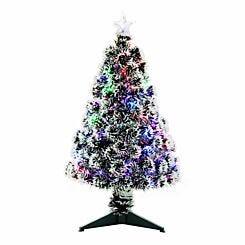 Pre Lit Artificial Snow Covered Christmas Tree 90cm