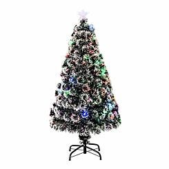 Pre Lit Artificial Snow Covered Christmas Tree 120cm
