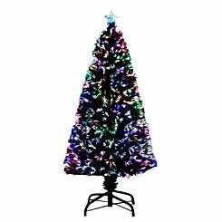 Green Pre Lit Fibre Optic Artificial Christmas Tree 150cm