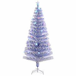 White Pre Lit Fibre Optic Artificial Christmas Tree 180cm