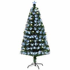 Green Pre Lit Fibre Optic Artificial Christmas Tree with Pinecones 150cm