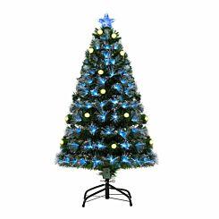 Green Pre Lit Fibre Optic Artificial Christmas Tree with Pinecones 120cm
