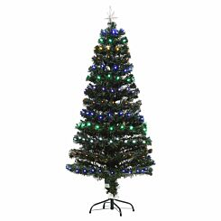 Multicoloured Pre Lit Artificial Christmas Tree with Star Topper 150cm