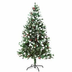 Snow Tipped Artificial Pine Christmas Tree with Berries 150cm