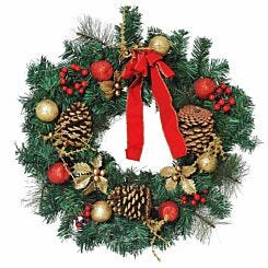 Pre Lit Artificial Christmas Wreath with Decorations 60cm