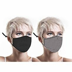 Washable Twin Pack Facemask Black and Gingham
