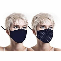 Washable Twin Pack Facemask Navy and Polka Dot