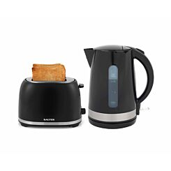 Salter Deco Kettle and 2 Slice Toaster Set Black with Stainless Steel