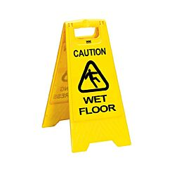 Folding Caution Cleaning in Progress Wet Floor Yellow Sign