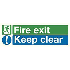 Safety Sign Fire Exit Keep Clear 150x450mm Self-Adhesive
