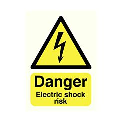Safety Sign Danger Electric Shock Risk A5 Self-Adhesive