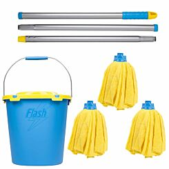 Wham Flash Microfibre Mop with 2 Refills and Mop Bucket