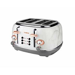 Tower 4 Slice Rose Gold Edition Marble Stainless Steel Toaster