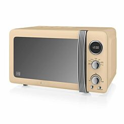 Swan Retro Digital Microwave 20L 800W Cream