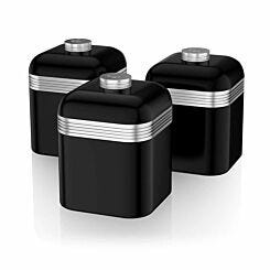 Swan Retro Canisters Set of 3 Black