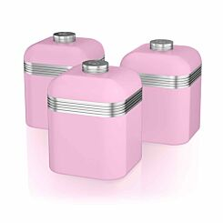 Swan Retro Canisters Set of 3 Pink