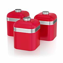 Swan Retro Canisters Set of 3 Red